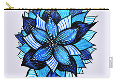 Pretty Abstract Blue Mandala Like Flower Drawing Carry-all Pouch