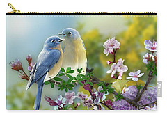 Carry-all Pouch featuring the mixed media Pretty Blue Birds by Morag Bates