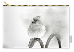 Pretty Cardinal In Black And White Carry-all Pouch by Trina Ansel