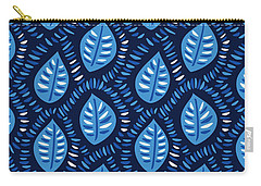 Pretty Decorative Blue Leaves Pattern Carry-all Pouch