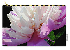 Pretty Pink Peony Flower On Black Carry-all Pouch by Carol F Austin