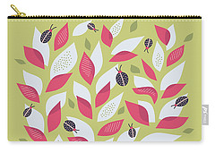 Pretty Plant With White Pink Leaves And Ladybugs Carry-all Pouch
