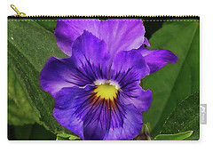 Pretty Purple Pansie Carry-all Pouch by Mikki Cucuzzo