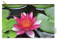 Pretty Red Water Lily Flowering In A Water Garden Carry-all Pouch by DejaVu Designs