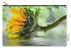 Carry-all Pouch featuring the digital art Pretty Sunflower by Nina Bradica
