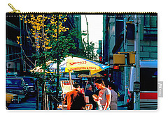 Carry-all Pouch featuring the photograph Hot Dog Stand Nyc Late Afternoon Ik by Tom Jelen
