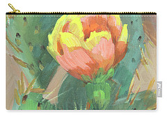 Carry-all Pouch featuring the painting Prickly Pear Cactus Bloom by Diane McClary