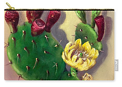 Carry-all Pouch featuring the painting Prickly Pear Cactus by Randol Burns