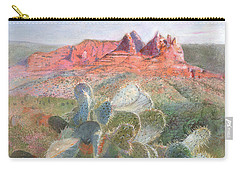 Carry-all Pouch featuring the painting Prickly Pear In Sedona, Arizona by Nancy Lee Moran