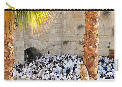 Carry-all Pouch featuring the photograph Prayer Of Shaharit At The Kotel During Sukkot Festival by Yoel Koskas