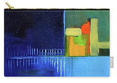 Carry-all Pouch featuring the painting Primary Blue Abstract by Nancy Merkle