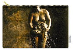 Primitive Woman Holding Mask Carry-all Pouch