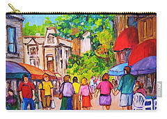 Carry-all Pouch featuring the painting Prince Arthur Street Montreal by Carole Spandau