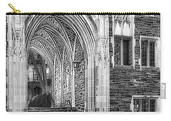 Carry-all Pouch featuring the photograph Princeton University Lockhart Hall Dorms Bw by Susan Candelario