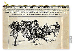 Carry-all Pouch featuring the mixed media Princeton Vs Harvard - New York Journal 1896 by Daniel Hagerman