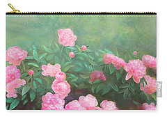 Carry-all Pouch featuring the mixed media Profuse Peony Blossoms by Nancy Lee Moran