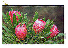 Carry-all Pouch featuring the photograph Proteas In Bloom By Kaye Menner by Kaye Menner