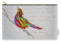 Proud Cardinal With Blessing Carry-all Pouch by Beverley Harper Tinsley