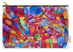 Carry-all Pouch featuring the drawing Psychedelic Abstract by Megan Walsh
