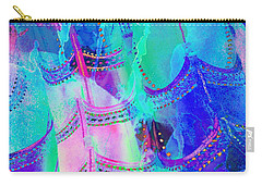 Psychedelic Blue Shoes Shopping Is Fun Abstract Square 4f Carry-all Pouch