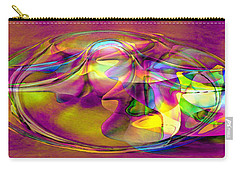 Carry-all Pouch featuring the digital art Psychedelic Sun by Linda Sannuti