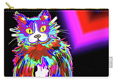 Carry-all Pouch featuring the painting Psycho Dizzycat by DC Langer