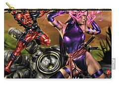 Psylocke And Deadpool Carry-all Pouch by Pete Tapang