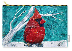 Pudgy Cardinal Carry-all Pouch by T Fry-Green