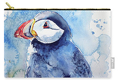 Puffin With Flowers Carry-all Pouch by Kovacs Anna Brigitta