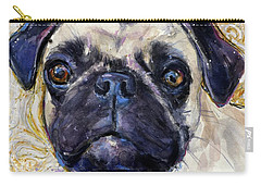 Carry-all Pouch featuring the painting Pug Mug by Molly Poole