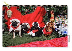 Pugs And Dachshounds Dressed As Father Christmas Carry-all Pouch
