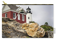 Carry-all Pouch featuring the photograph Pumphouse And Tower, Pemaquid Light, Bristol, Maine  -18958 by John Bald