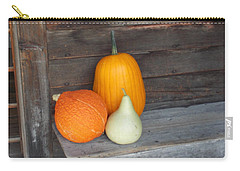 Pumpkin On A Bench Carry-all Pouch by Catherine Gagne
