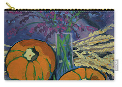 Carry-all Pouch featuring the painting Pumpkins And Wheat by Erin Fickert-Rowland