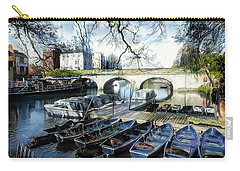 Carry-all Pouch featuring the digital art Punting On The Thames by Pennie McCracken