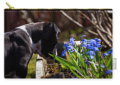 Puppy And Flowers Carry-all Pouch by Tamara Sushko