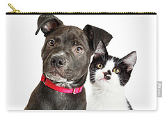 Puppy And Kitten Closeup Over White Carry-all Pouch