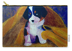 Carry-all Pouch featuring the painting Puppy Bath by Donald J Ryker III
