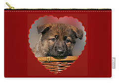 Carry-all Pouch featuring the photograph Puppy In Red Heart by Sandy Keeton