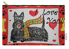 Carry-all Pouch featuring the painting Puppy Love by Diane Pape