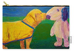 Carry-all Pouch featuring the painting Puppy Say Hi by Donald J Ryker III