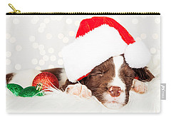 Puppy Wearing Santa Hat While Napping On Fur At Home Carry-all Pouch