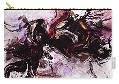 Carry-all Pouch featuring the painting Purple Abstract Painting / Surrealist Art by Ayse Deniz