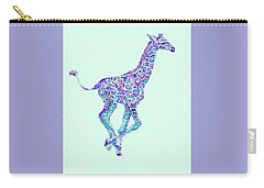 Purple And Aqua Running Baby Giraffe Carry-all Pouch