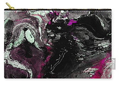 Carry-all Pouch featuring the painting Purple And Black Minimalist / Abstract Painting by Ayse Deniz