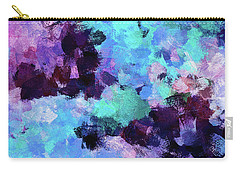 Carry-all Pouch featuring the painting Purple And Blue Abstract Art by Ayse Deniz