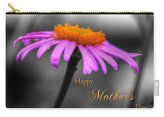 Carry-all Pouch featuring the photograph Purple And Orange Coneflower Happy Mothers Day by Shelley Neff