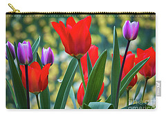 Purple And Red Tulips Carry-all Pouch by Mitch Shindelbower