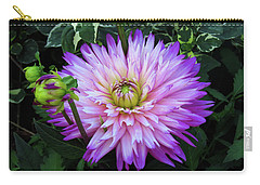 Purple And White Dahlia Carry-all Pouch by Rosalie Scanlon