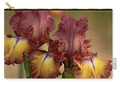 Carry-all Pouch featuring the photograph Purple And Yellow Bearded Iris by Sheila Brown